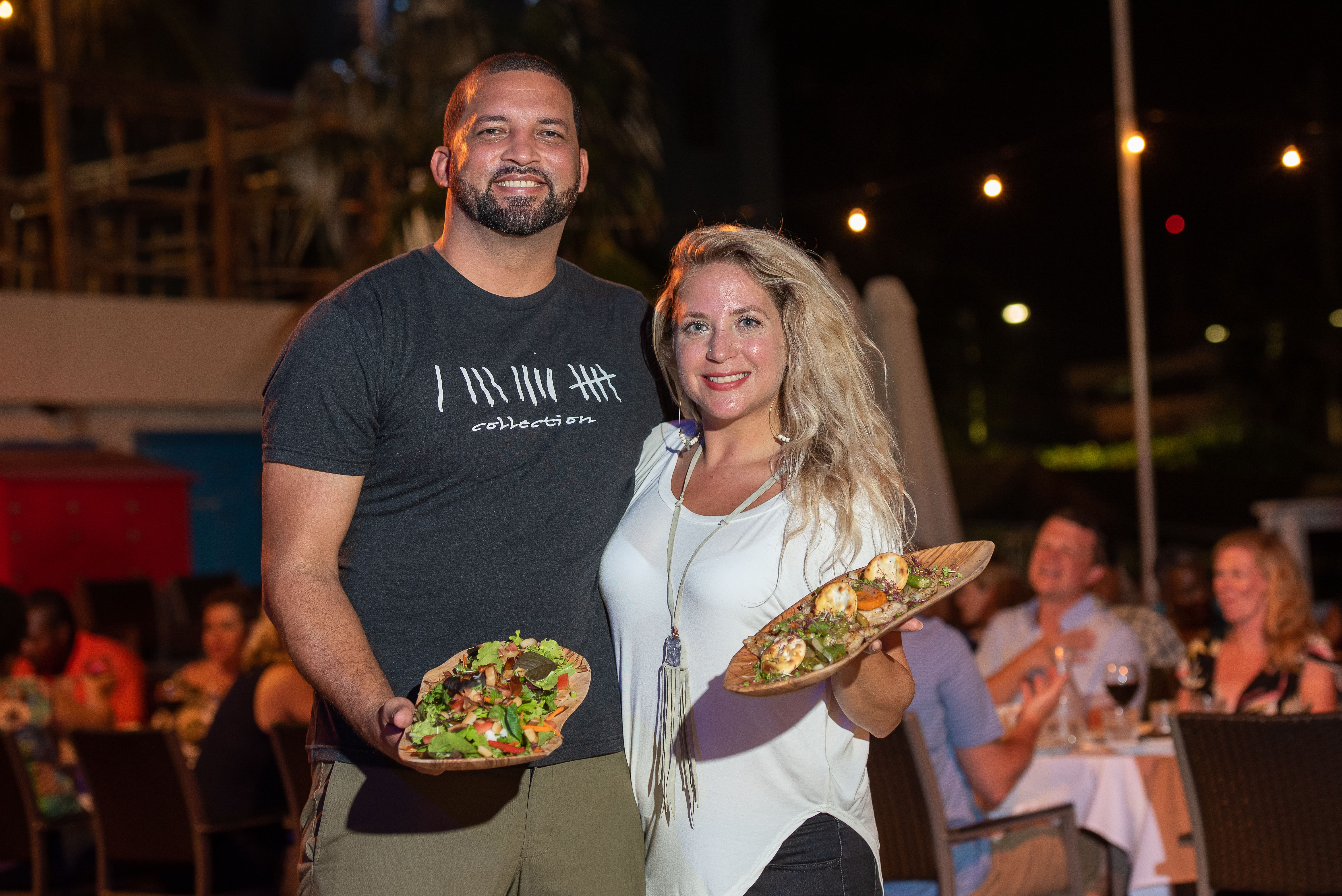 Cayman Cabana Owners Holding food