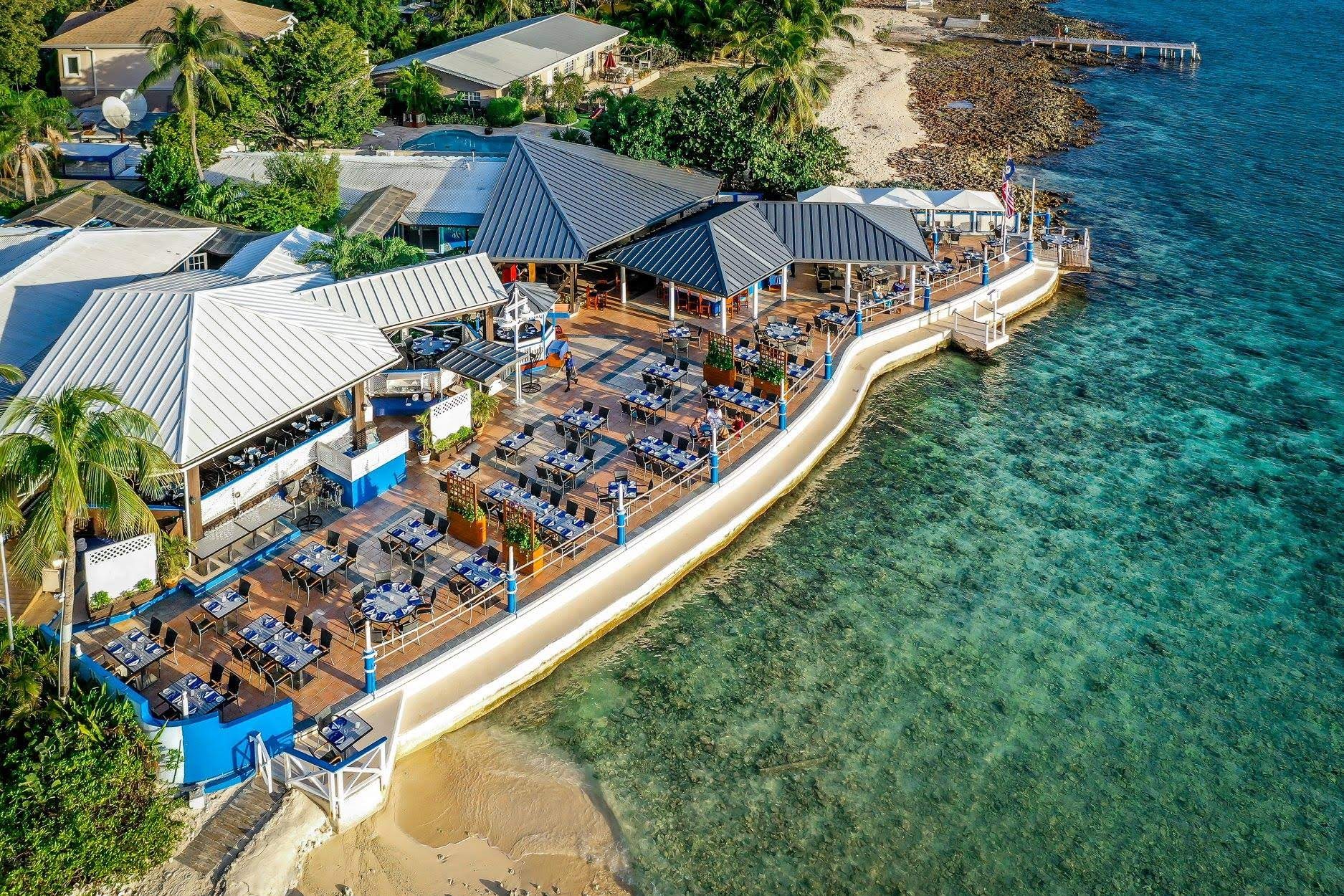 Drone shot of The Wharf Cayman