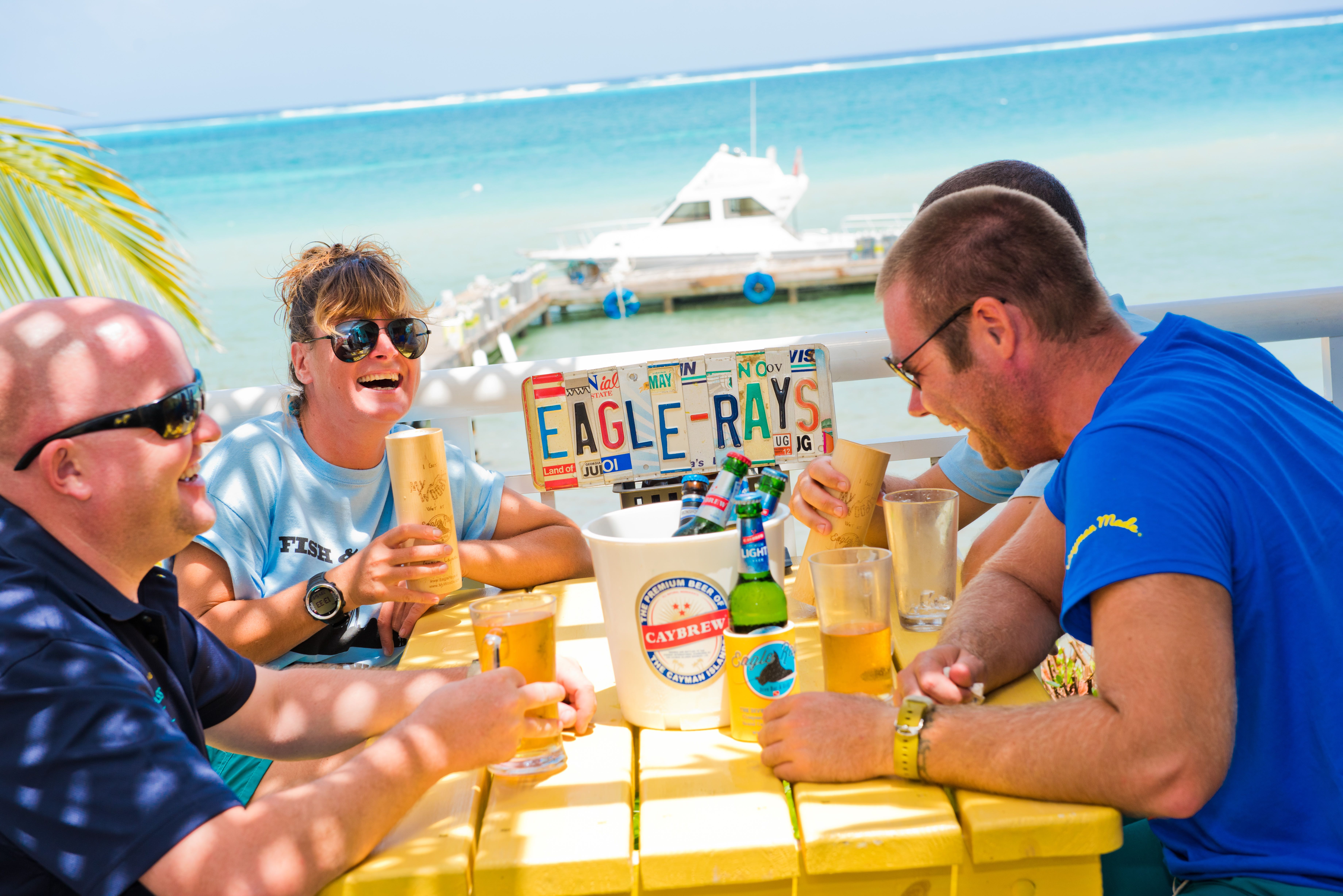 People laughing at Eagle Rays Cayman