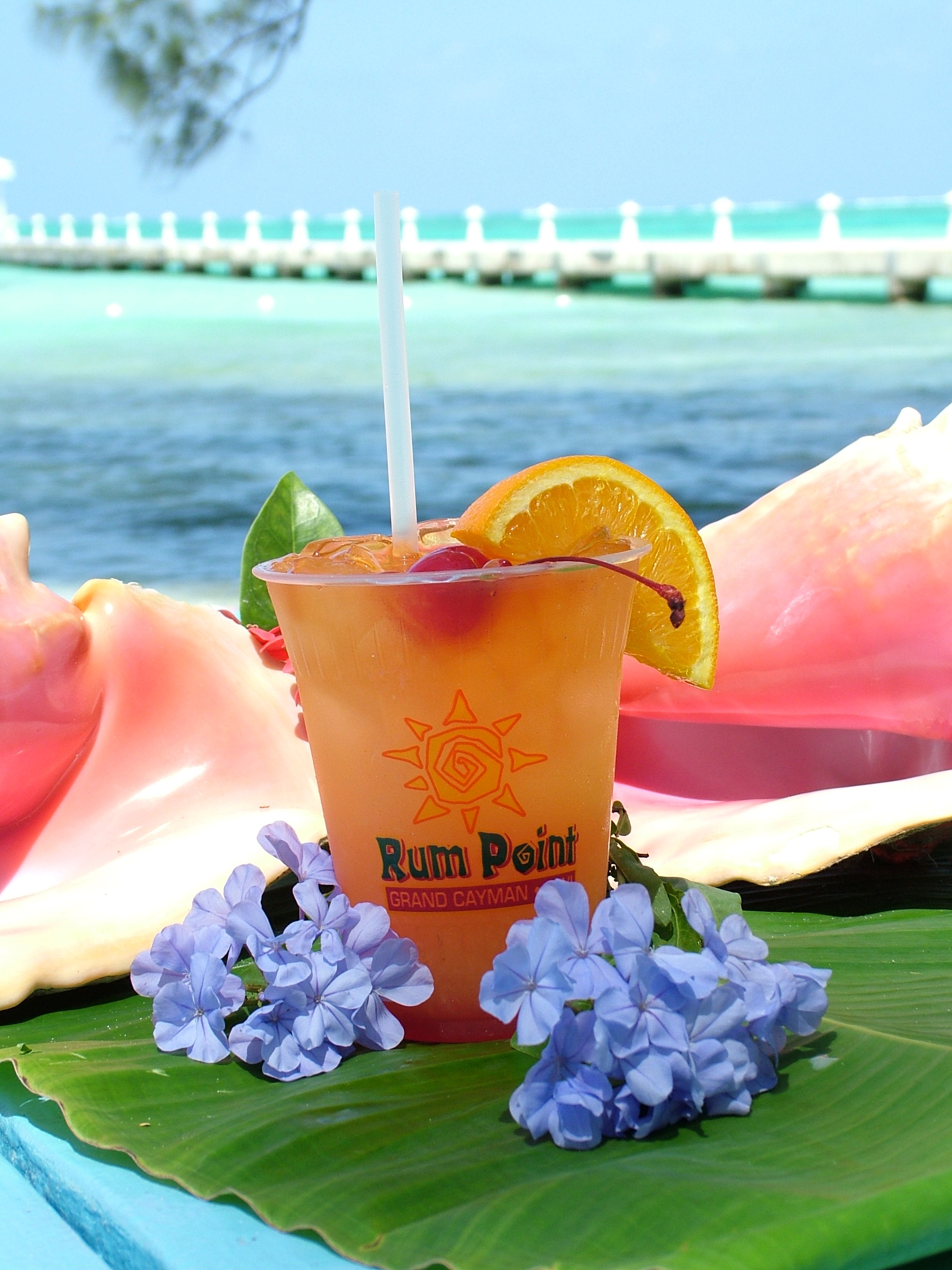 Rum Point Cayman drink with conch shells and flowers
