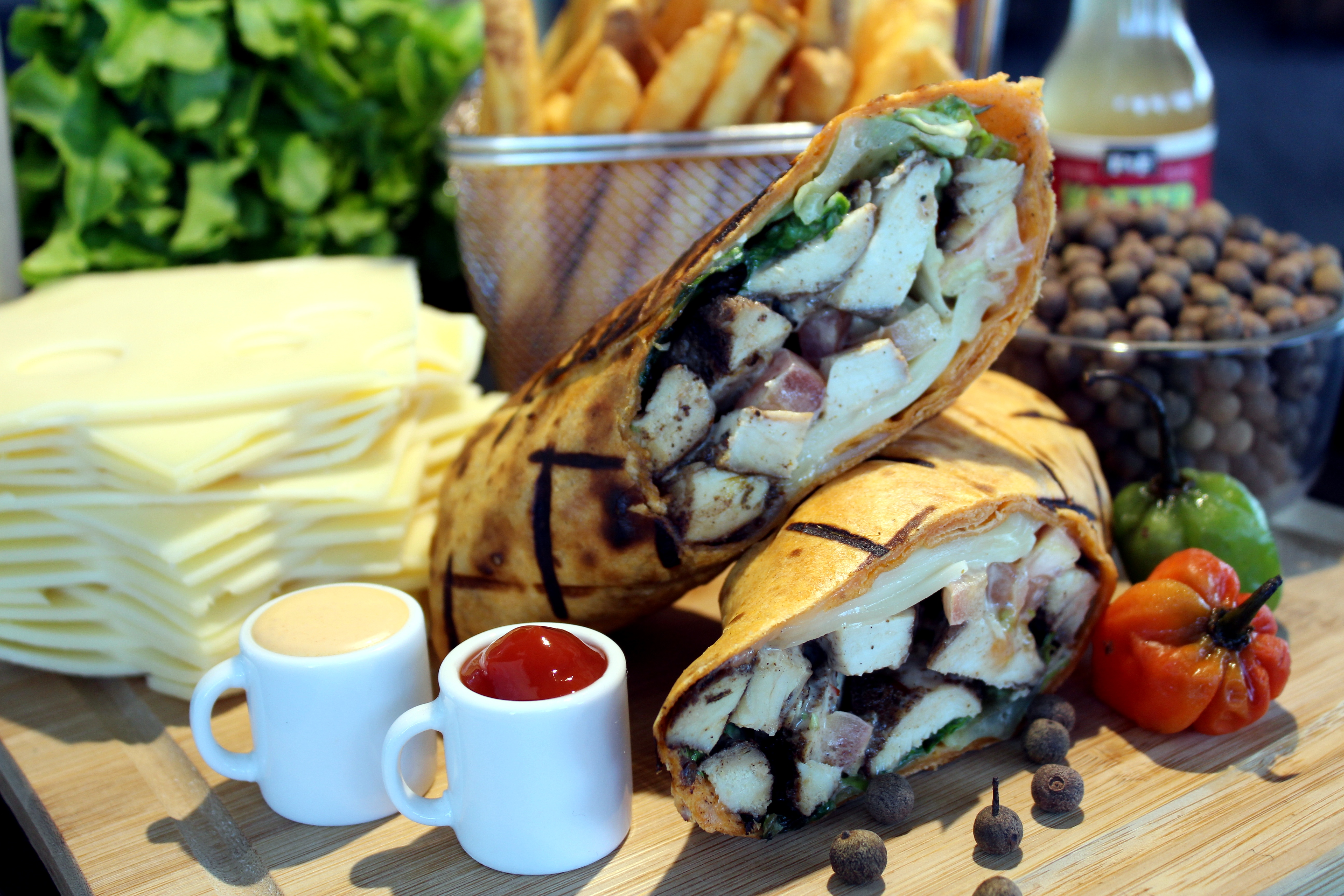 Sharkeez Chicken Wrap with Fries