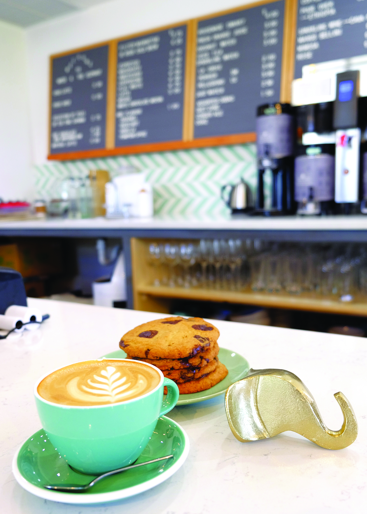 water and Elephant Coffee and cookies