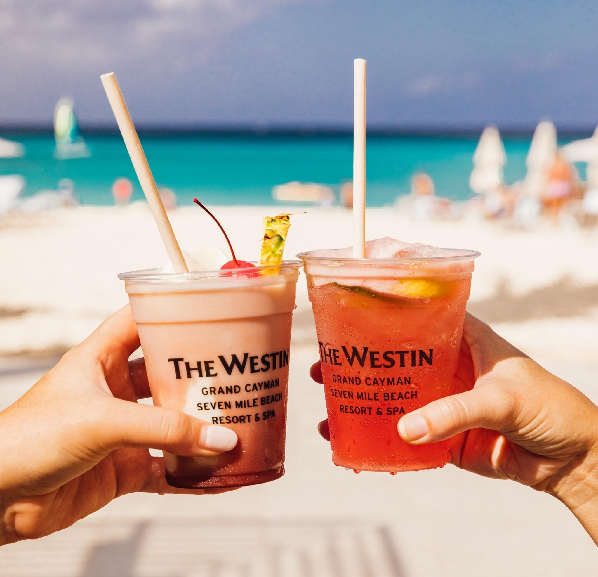 Westin Cayman Drinks overlooking the Ocean