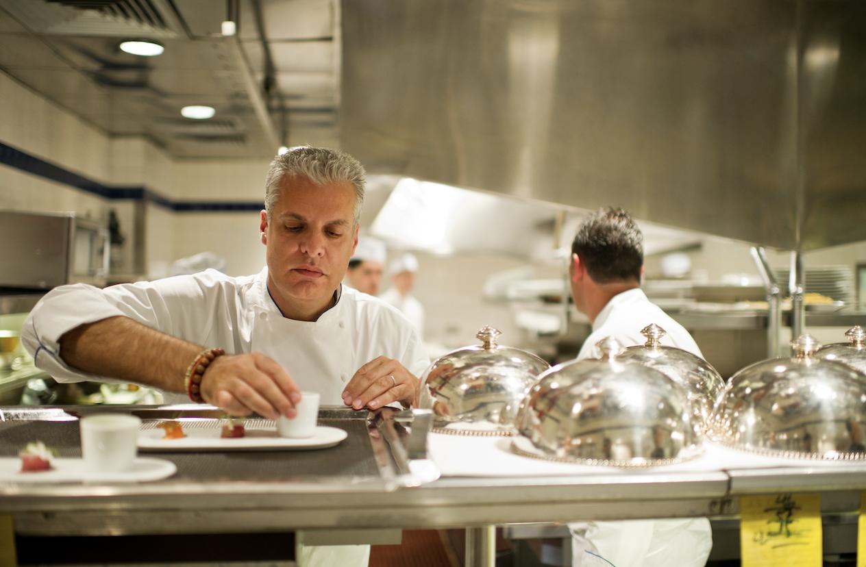 Eric Ripert in The Kitchen Preparing Food